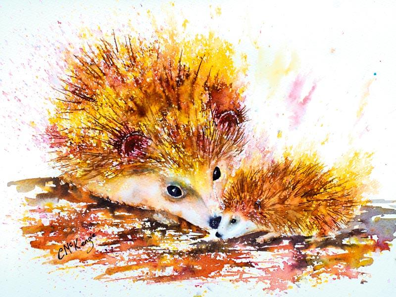 hedgehog, baby hedgehog, hedgehog painting, hedgehog art, nature painting, nature, nature art, wildlife painting, wildlife, wildlife art