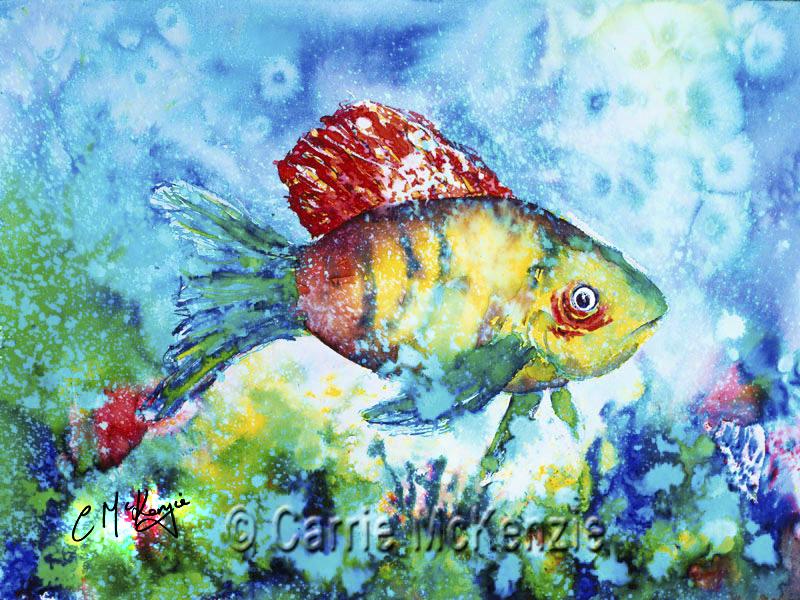 fish painting, sea painting, underwater painting, fish, sea, underwater, coral reef,