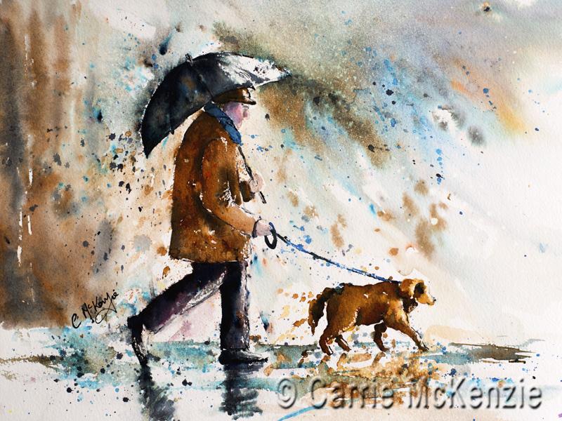 rain, dog, rain painting, dog painting, rain art, dog art, walking art, walking painting, walk, umbrella painting, umbrella, umbrella art, people, people painting