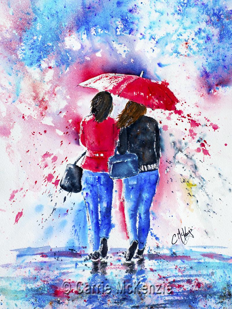rain painting, umbrella painting, rain, umbrella, rain art, umbrella art, girls, girls painting, girls art, shopping, friends, friends painting, friendship, people, people painting, life,