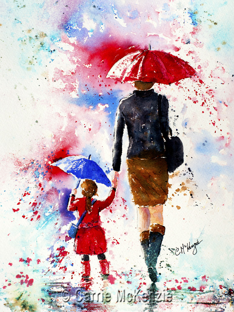 umbrella, rain, umbrella painting, rain painting, child, child painting, mother, mum, daughter, people, people painting,