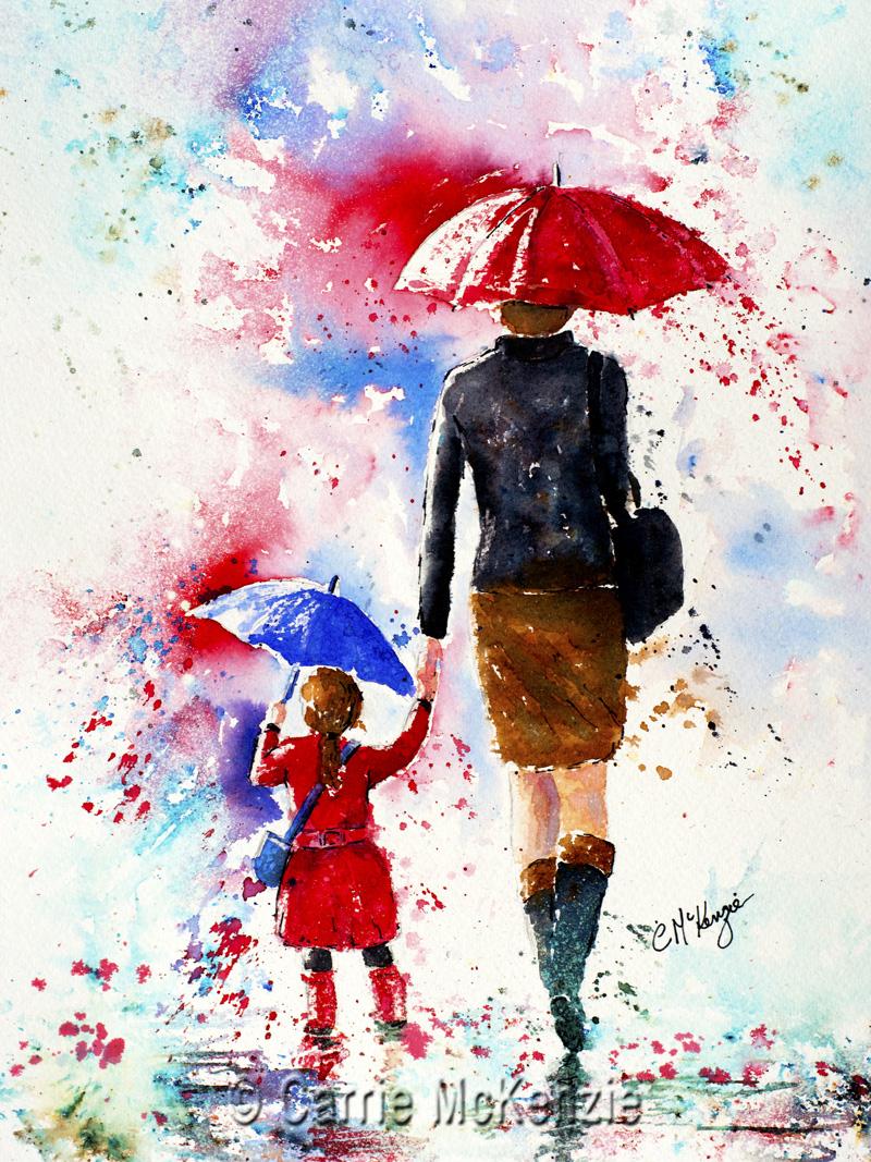 umbrella, rain, umbrella painting, rain painting, child, child painting, mother, mum, daughter, people, people painting,