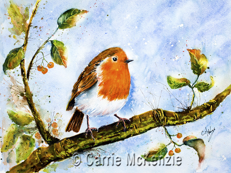 Robin Painting, Robin Redbreast, Art, Bird painting, bird art, nature, wildlife, robin redbreast painting