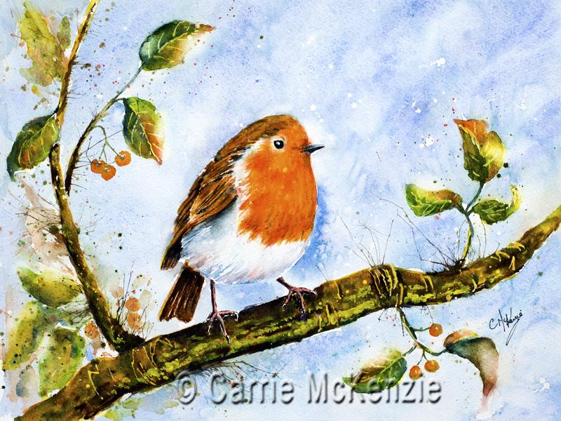 Robin Painting, Robin Redbreast, Art, Bird painting, bird art, nature, wildlife, robin redbreast painting