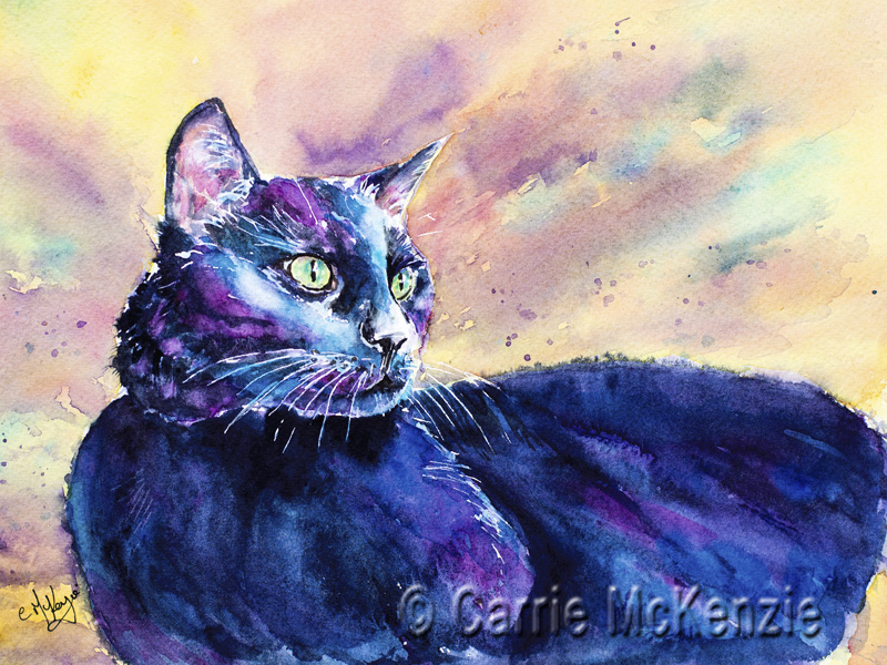 CAT PAINTING, BLACK CAT PAINTING, ANIMAL, ART, WATERCOLOUR, KITTEN, black cat, PET, PET PAINTING, PET ART