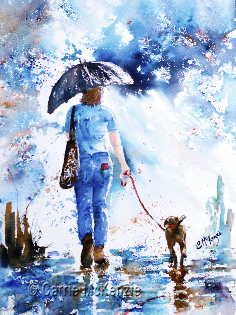 rain painting, umbrella painting, dog painting, girl painting, rain art, umbrella art, dog art, dog, girl, rain, umbrella