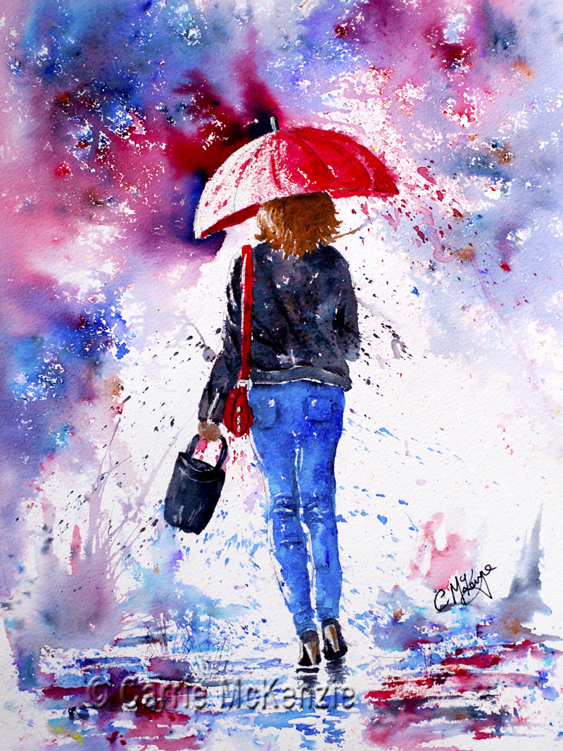 rainy umbrella painting, raindrops painting, rain painting, umbrella painting, woman painting, girl painting, rain art, umbrella art, woman art, woman, girl, rain, umbrella