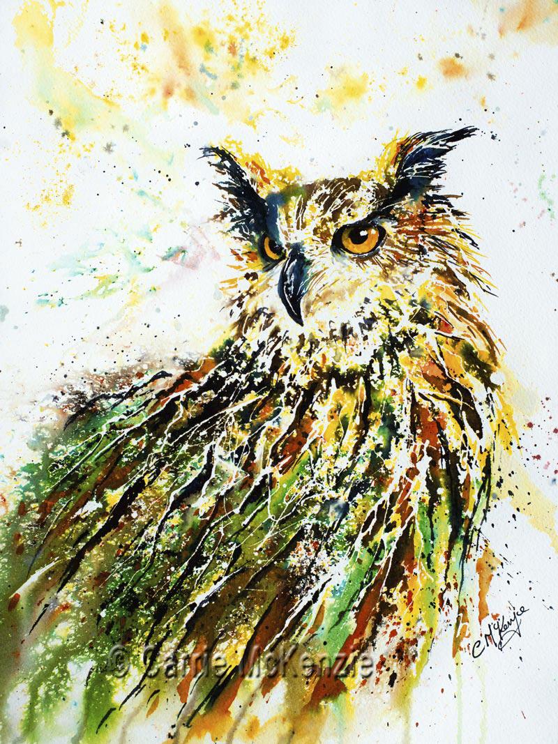 OWL, LONG EARED OWL, LONG EARED OWL GREEN, GREEN, NATURE, WILDLIFE, BIRD, OWL PAINTING, OWL ART