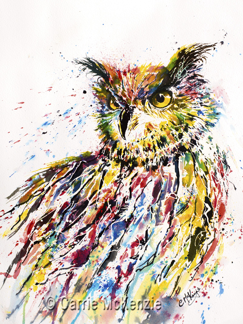 OWL, LONG EARED OWL, OWL PAINTING, OWL ART, NATURE, WILDLIFE