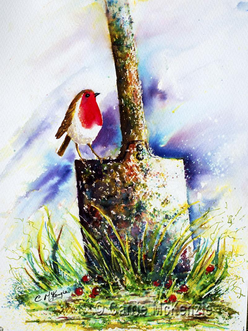 robin on a spade, Robin Painting, Robin Redbreast, Art, Bird painting, bird art, nature, wildlife, robin redbreast painting
