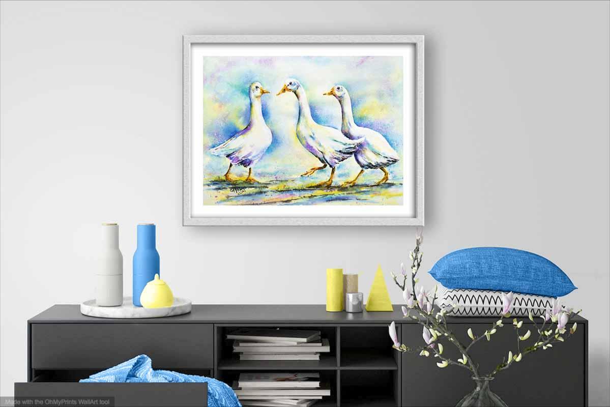goose, geese, watercolour goose, watercolour geese, bird, nature, wildllife