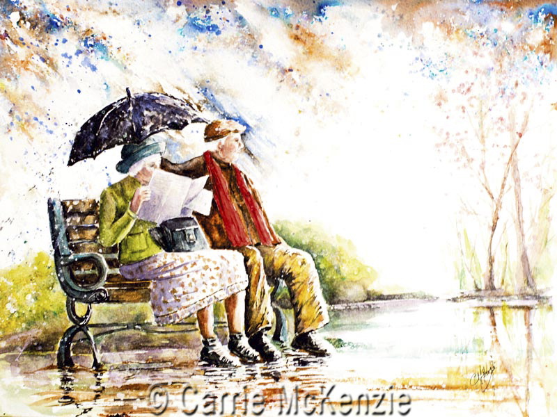rainy day painting, rain painting, summer shower painting, umbrella painting, umbrella, rain, old couole, rain art, umbrella art, couple painting, summer rain,