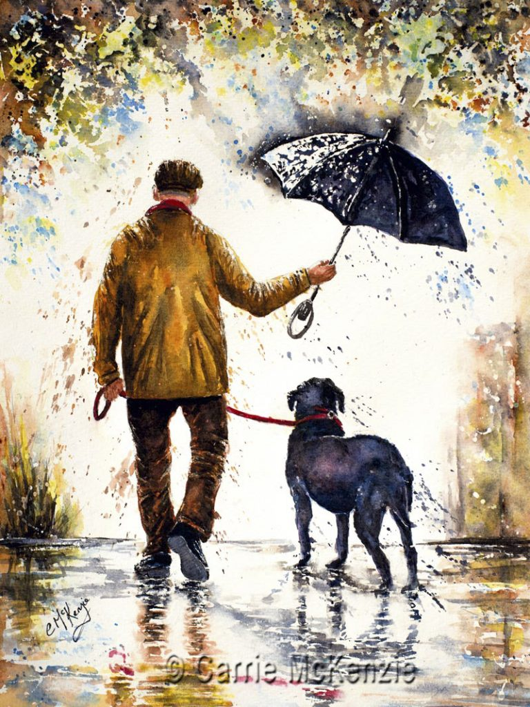 umbrella, rain, rainy day, man and dog painting, dog painting, dog art, pet painting, pet art, man and dog painting, old man, man walking,