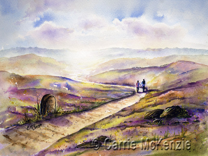 moors painting, heather painting, moors and heather, countryside, landscape, walking, hiking, yorkshire,