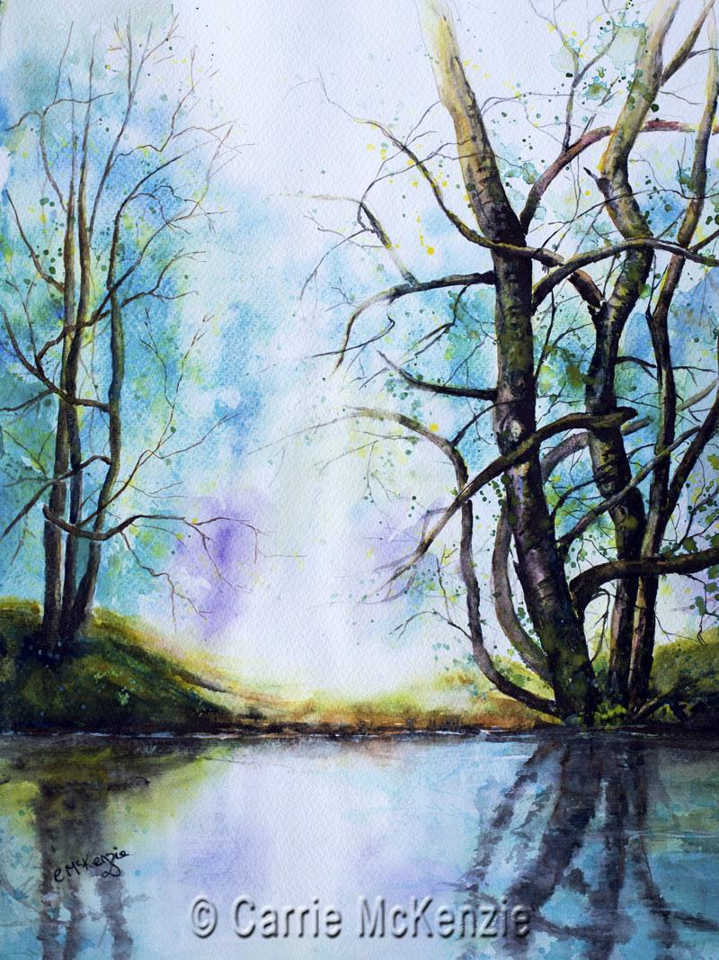 RIVER, RIVER PAINTING, SOLITUDE, PEACE, CALM, ART, RIVER ART, LANDSCAPE, blue waters