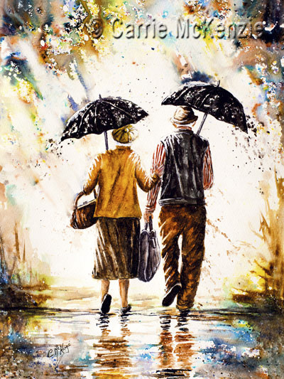 rainy day painting, rain painting, couple painting, umbrella painting, umbrella, rain, couple, rain art, umbrella art, old couple painting, old couple,