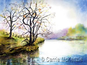 landscape, water, water painting, river painting, lake painting, trees,