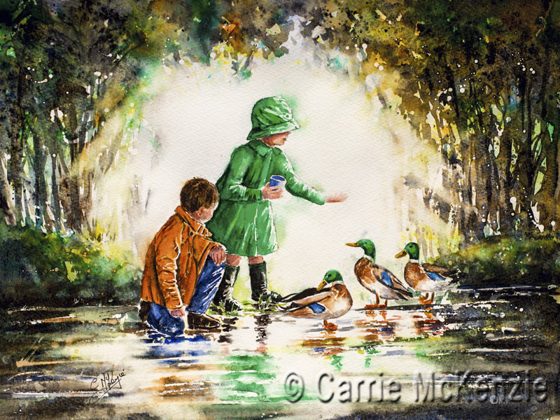 children and ducks, children, ducks, feeding ducks, rainy day painting, rain painting, child painting, umbrella painting, umbrella, rain, children feeding ducks, rain art, umbrella art, boy and girl painting,