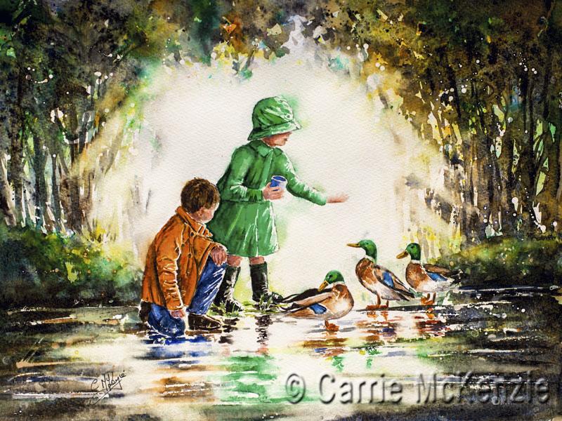 children and ducks, children, ducks, feeding ducks, rainy day painting, rain painting, child painting, umbrella painting, umbrella, rain, children feeding ducks, rain art, umbrella art, boy and girl painting,