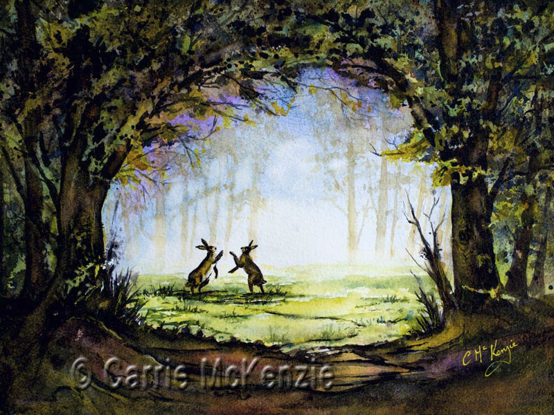 hares, boxing hares, hare painting, hare art, boxing hares painting, boxing hares art, woodland, nature, animals, countryside, forest,