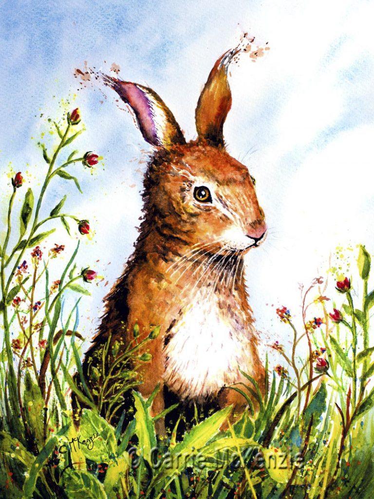 rabbit, rabbit painting, rabbit art, hare, hare painting, hare art, bunny, bunny rabbit, wildlife, nature