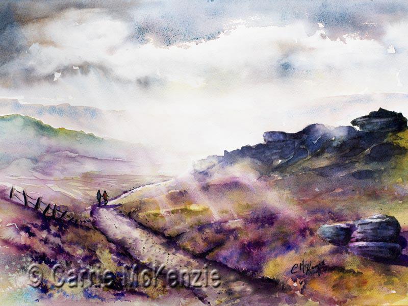 yorkshire moors, yorkshire moors painting, on yorkshire moors, moors and heather, heather, moors, countryside, landscape, walking, hiking,