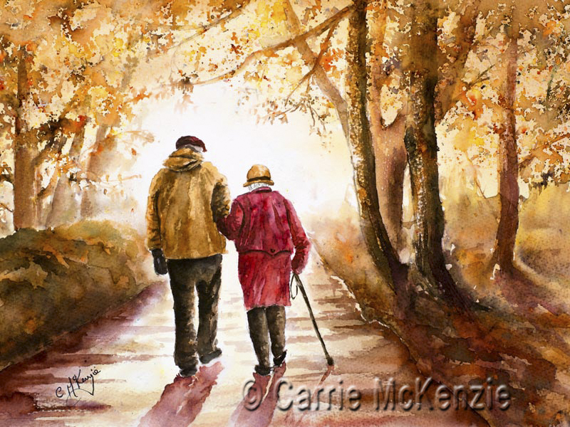 couple, walking, autumn, woodland, nature, countryside, landscape, old couple