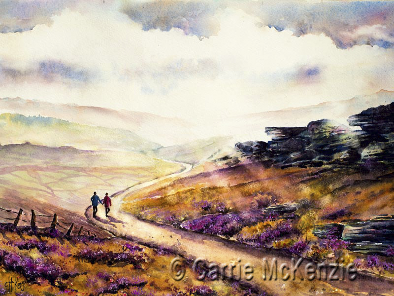moors and bracken, moors and heather, heather, moors, bracken, countryside, landscape, painting, moors painting, moors art, yorkshire, yorkshire painting
