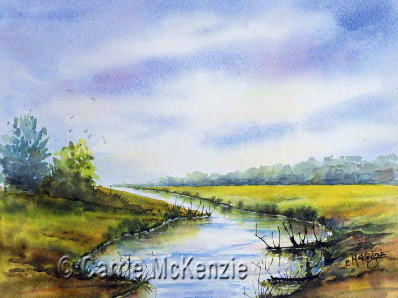 peace, landscape, watercolour, nature, river, sky