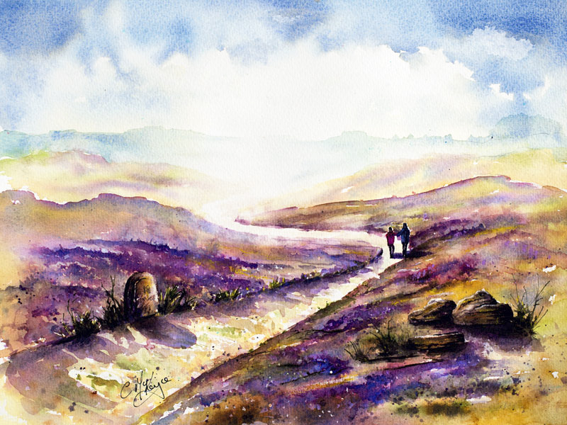 heather painting, heather, moors painting, moors, moors and heather, countryside, landscape, yorkshire, yorkshire painting