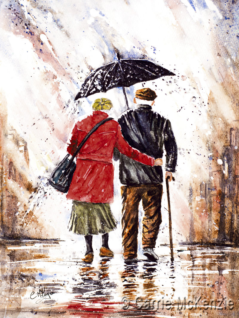 rainy day painting, rain painting, old couple painting, umbrella painting, umbrella, rain, old couple, rain art, umbrella art, elderly couple painting, elderly couple, old couple in love,