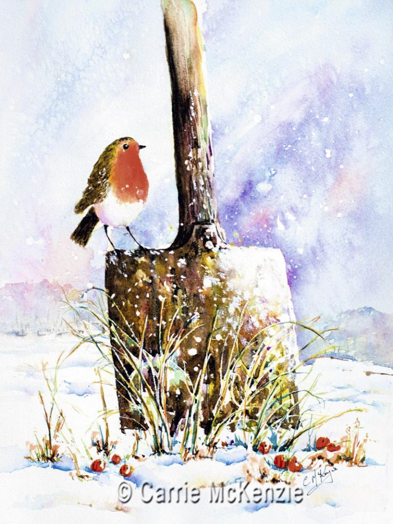 robin, robin in snow, robin on spade, robin painting, robin art, bird, nature, xmas, christmas, robin redbreast