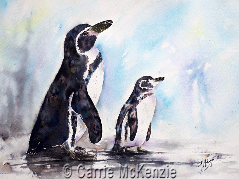brusho penguin, penguin, penguins, baby penguin, penguin painting, penguin art, wildlife, sealife, brusho, carrie mckenzie