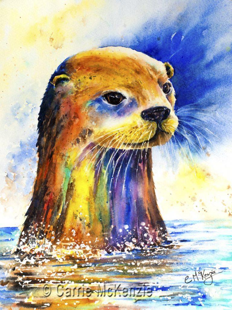 OTTER, river otter, nature, wildlife, animal, marine, otter art, otter painting, otter watercolour,