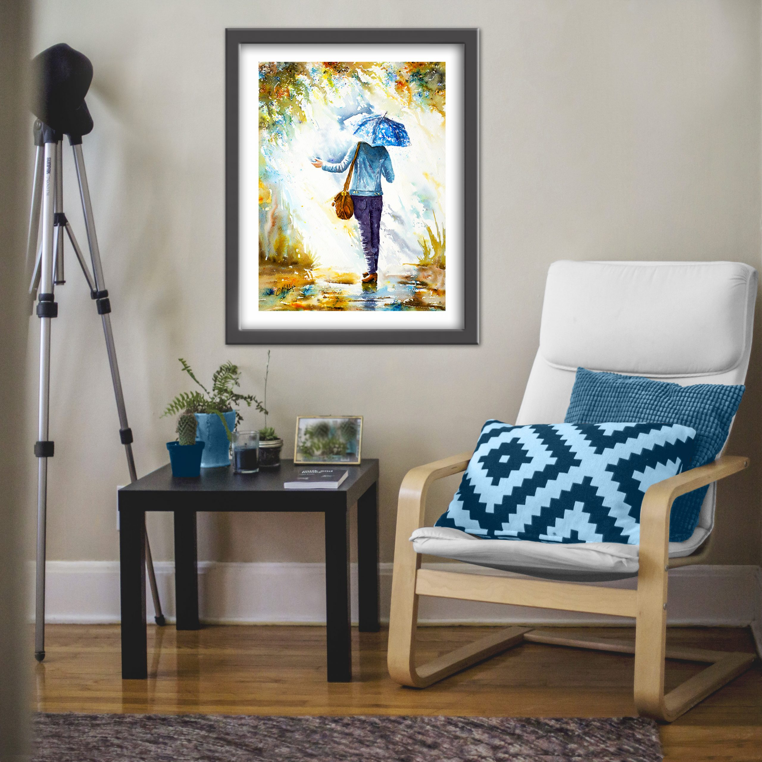 rain, umbrella, rain painting, rain art, art, painting, mixed media, girl, lady, weather, walking