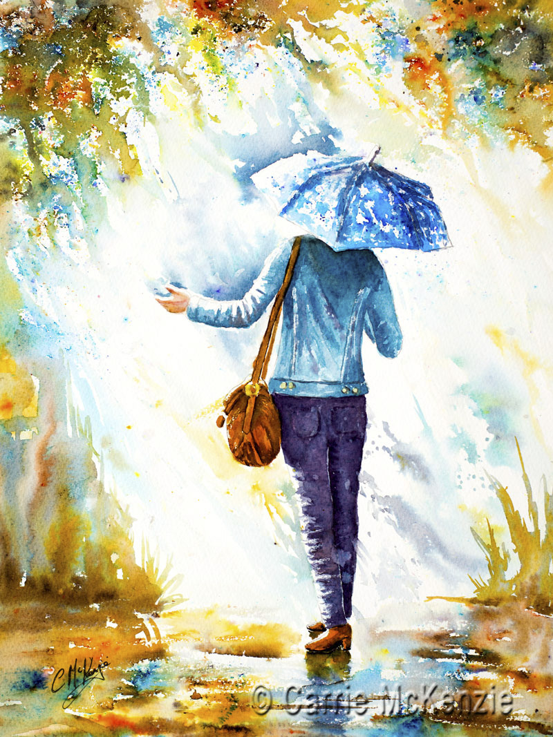 rain, umbrella, rain painting, rain art, art, painting, mixed media, girl, lady, weather, walking, waiting